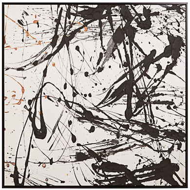 Square wooden frame Statement piece Abstract design Jackson Pollock style
