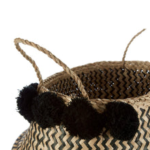 Load image into Gallery viewer, Black Pom Pom Seagrass Basket 32cm