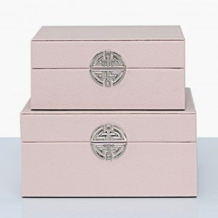 Set of 2 Blush Pink Faux Leather Jewellery Boxes