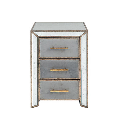 Brina Grey Velvet and Antique Effect Bedside Table