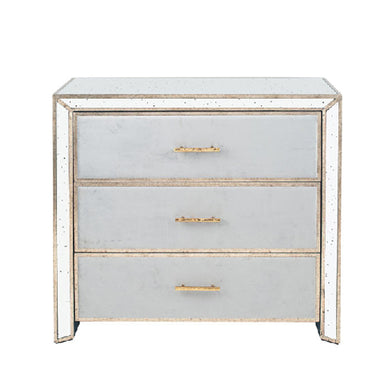 Brina Grey Velvet and Antique Effect Drawer Unit