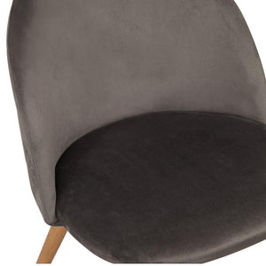 Grey Velvet Upholstered Dining Chair with Beech Style Legs