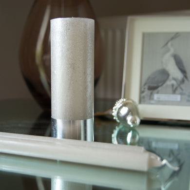 Metallic Silver Grey Pillar Candle 7cm x 19cm