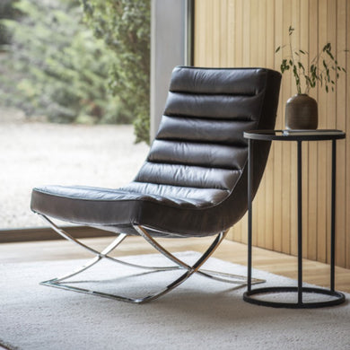 Cassina Black Leather Lounger Chair