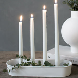 White Ceramic Candle Dish