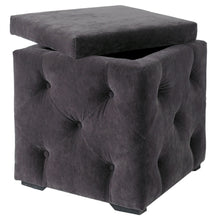 Load image into Gallery viewer, Charcoal Plush Velvet Storage Ottoman