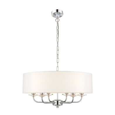 Chloe 6 Light Chrome Pendant with white shade