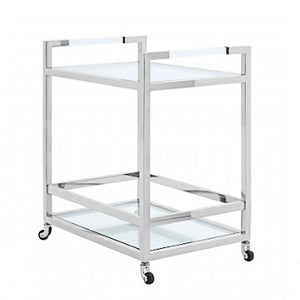 Chrome Drinks Trolley with Glass shelves