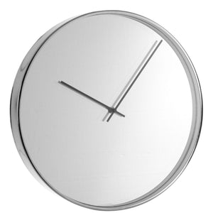 Chrome Mirror Wall Clock 40cm