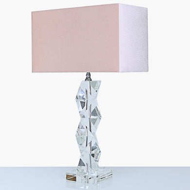 Crystal lamp with pink velvet shade
