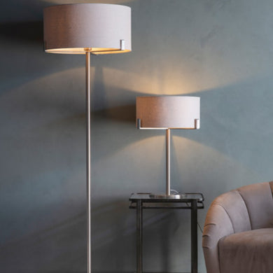 Chrome Floor Lamp with Grey Shade
