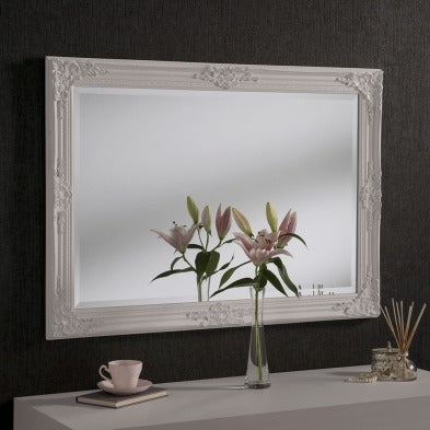 White Baroque Mirror 104cm x 74cm
