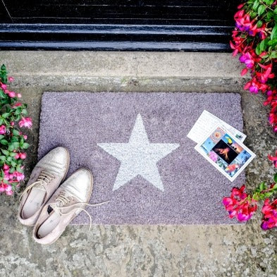 Grey Glitter Star Doormat 60x40cm