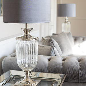 Glass Lamp with grey silk shade