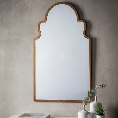 Curved Antique Gold Mirror