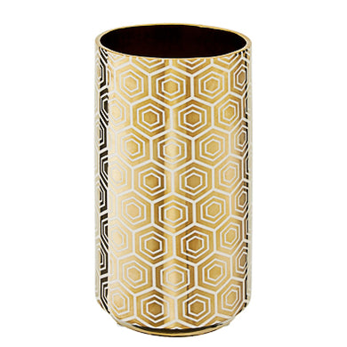 Gold Hex Design Vase 31cm