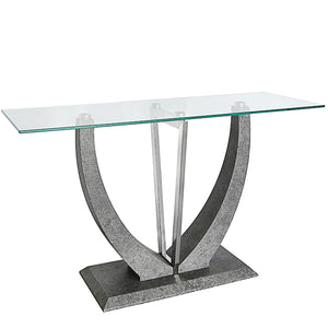 Grey console table with glass top