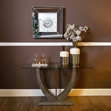 Load image into Gallery viewer, Grey console table with glass top