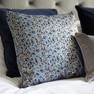 Navy Metallic Design Cushion 43x43cm