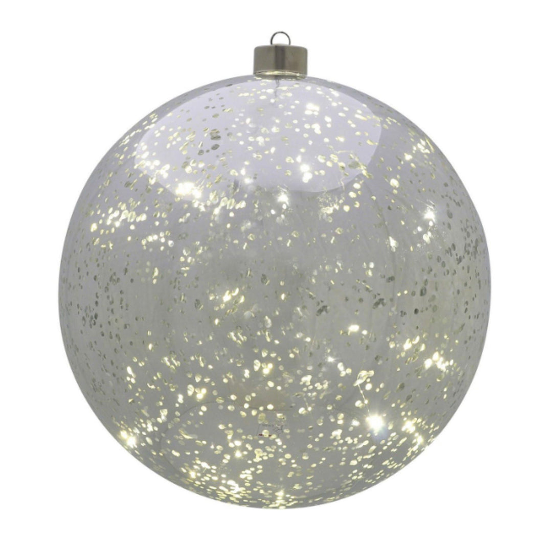 LED 20cm Silver Bauble