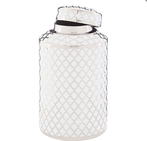 White and Silver Ceramic Jar