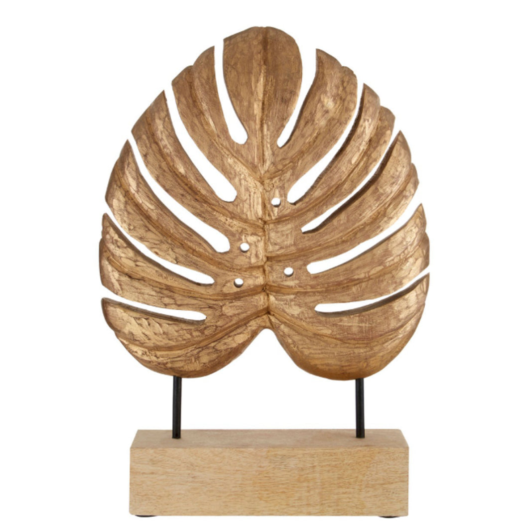 Gold Wood Leaf Sculpture