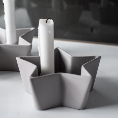 Grey Ceramic Star Candle Holder