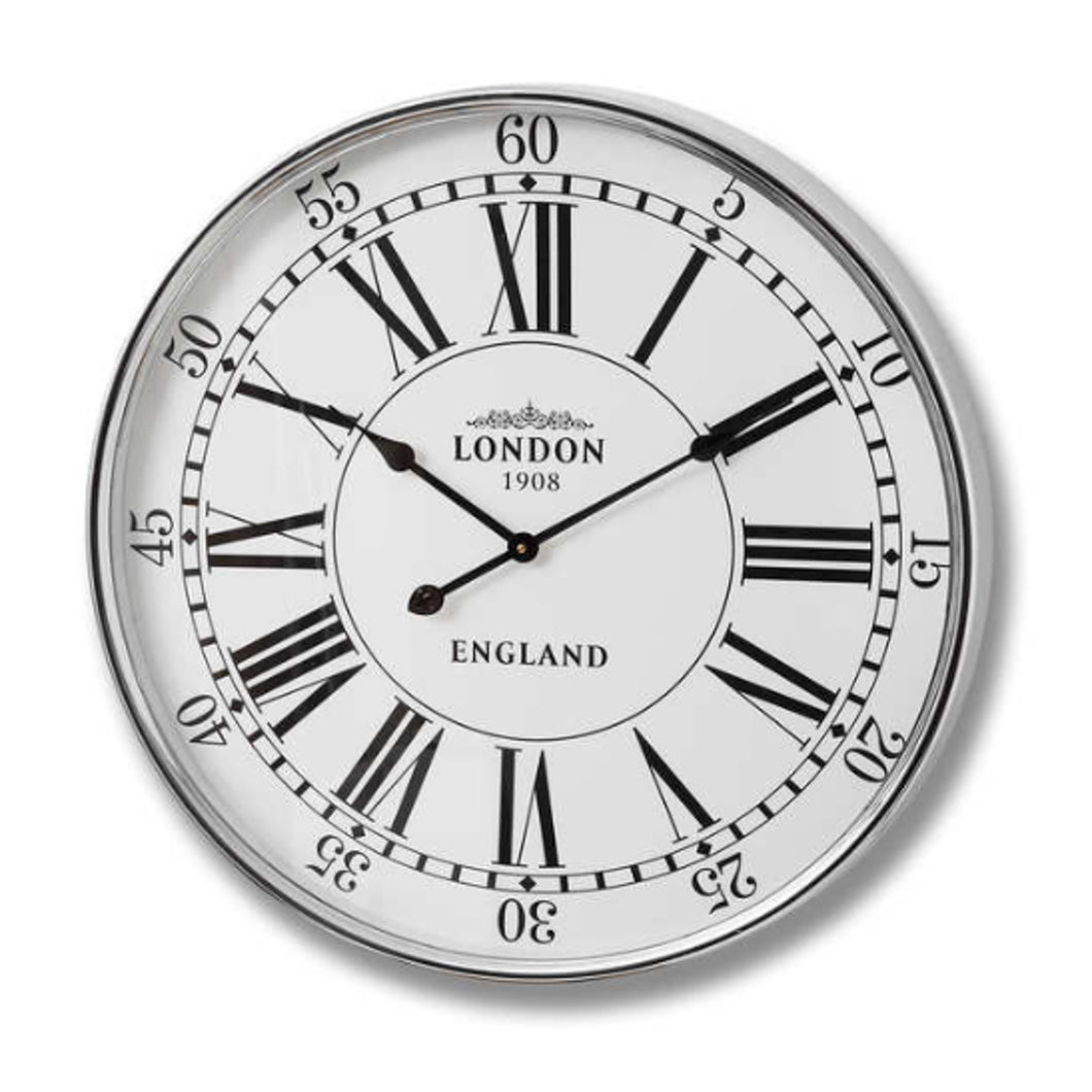 London Chrome Wall Clock 68cm