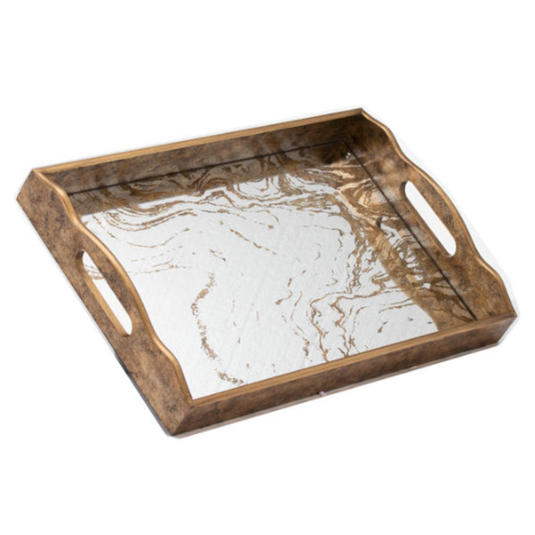 Gold Marble Effect Mirror Tray
