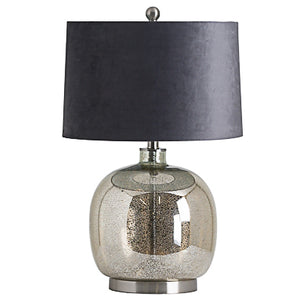 Metallic Lamp with grey velvet shade