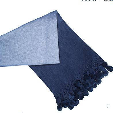Navy pom pom ombre throw
