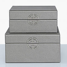 Load image into Gallery viewer, Set of 2 Pewter Faux Leather Jewellery Boxes