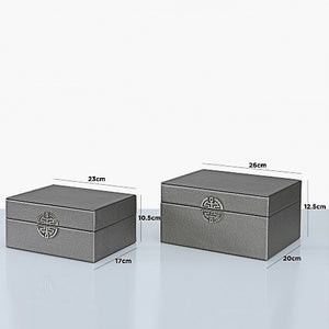 Set of 2 Faux Leather Pewter Jewellery Boxes
