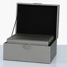 Load image into Gallery viewer, Set of 2 Faux Leather Pewter Jewellery Boxes