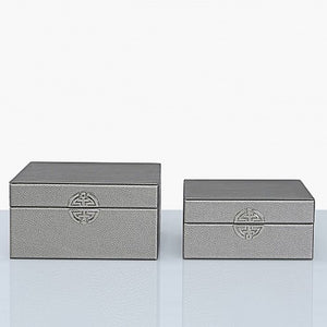Set Of 2 Pewter Faux Leather Jewellery Boxes
