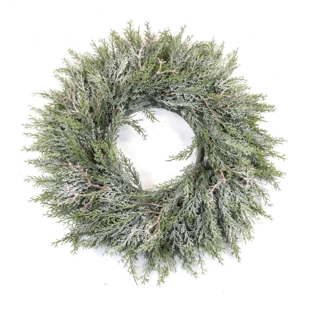 Pine Wreath with Frosting 60cm