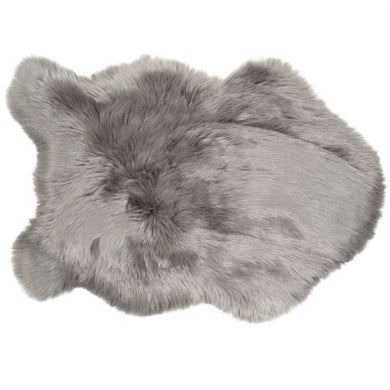 Grey-Faux Sheepskin Rug 90cmx60cm