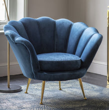 Load image into Gallery viewer, Riva Blue Velvet Chair