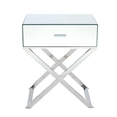 Rocca Mirrired Bedside Table