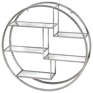 Silver round shelving unit