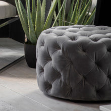 Load image into Gallery viewer, Sergi Grey Velvet Footstool