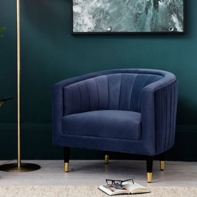 Serra Blue Velvet Chair