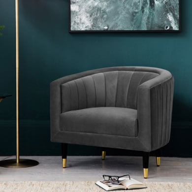 Serra Grey Velvet Chair