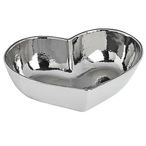 Silver Ceramic Heart Bowl