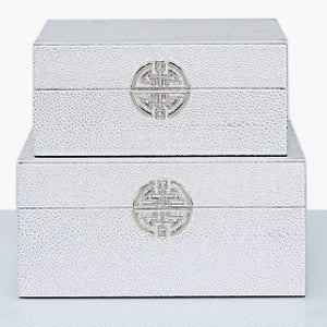Set of 2 faux leather silver jewellery boxes