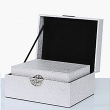 Load image into Gallery viewer, Set of 2 faux leather silver jewellery boxes