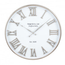 Load image into Gallery viewer, Silver & White Metal Clock 61cm