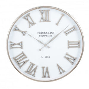 Silver & White Metal Clock 61cm