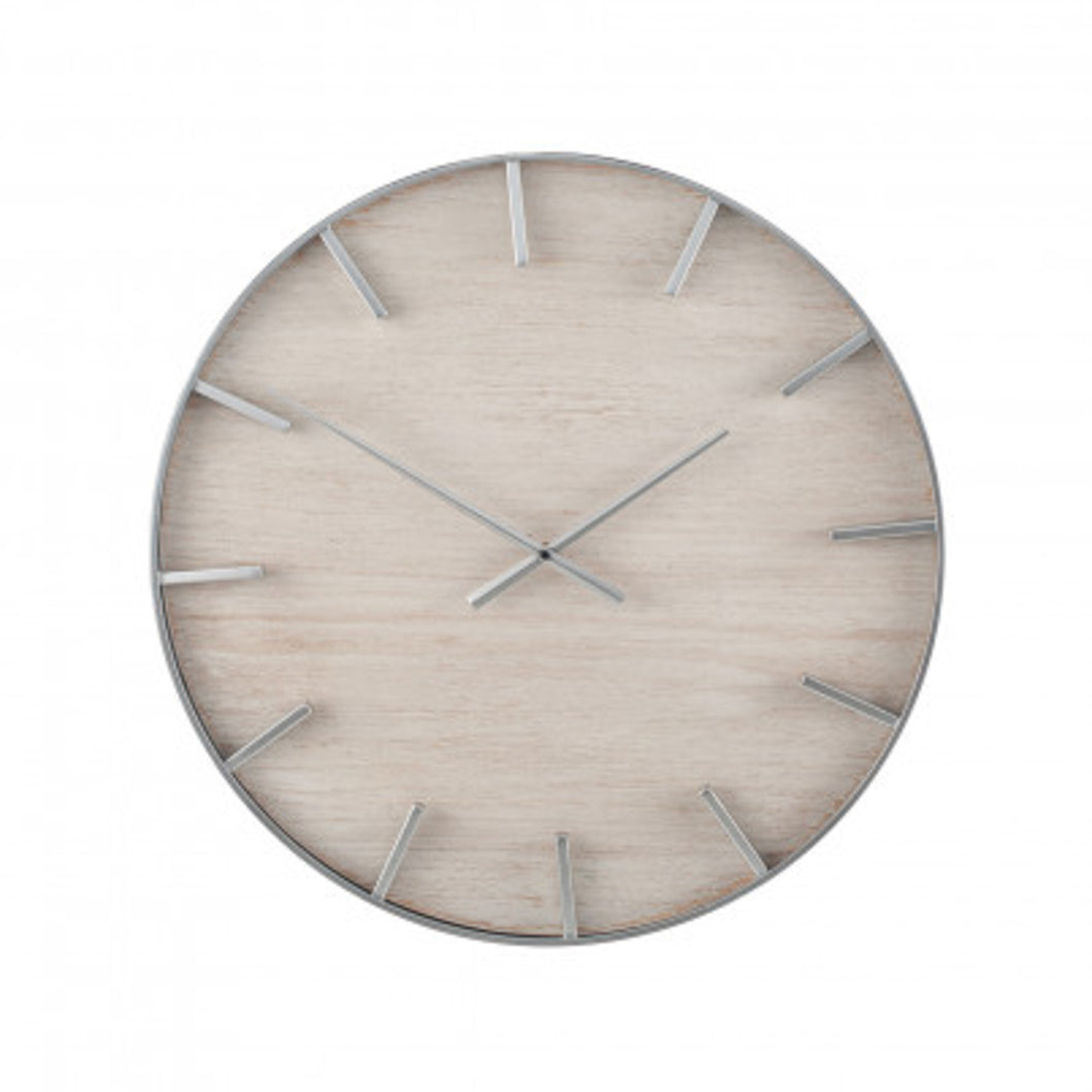 Silver & Washed Wood Wall Clock 60cm