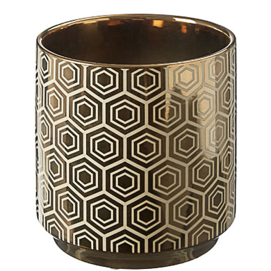 Small Ceramic Gold Hexagon Vase